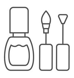 nail polish thin line icon nails polish brushes vector image