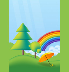 nature spring landscape with green trees rainbow vector image