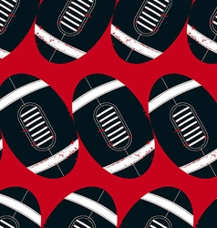 Navy footballs seamless pattern on a red vector