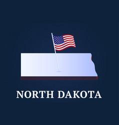 north dakota state isometric map and usa national vector image