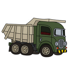 Old green dumper truck vector