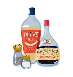 Olive oil balsamic vinegar salt and pepper set vector