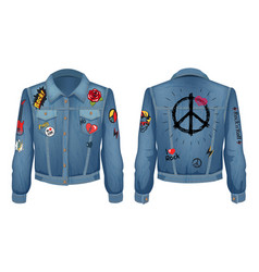 peace sign on back of jacket vector image