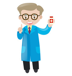Pharmacist holding box of medicine vector