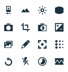Photo icons set with edit photographing vector