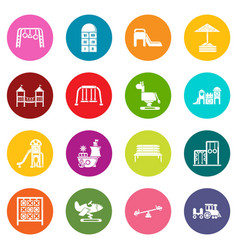 playground equipment icons set colorful circles vector image
