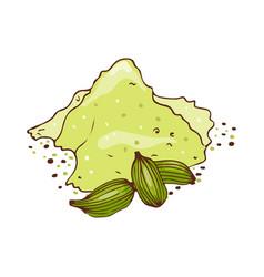 powder seasoning isolated on white background hand vector image