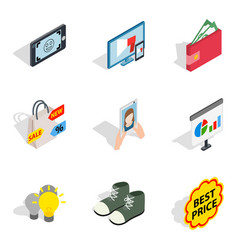 Purchase of clothes icons set isometric style vector