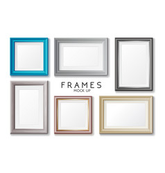 realistic rectangular gold and blue frames set vector image