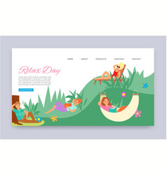 relax day outdoors leisure in park summer time vector image