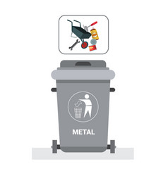 rubbish container for metal waste icon recycle vector image