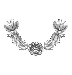 rustic feathers with rose decoration design vector image