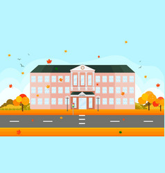 school building facade in autumn time vector image