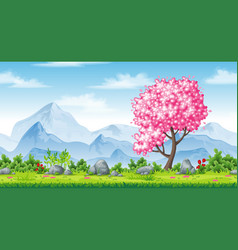 Seamless spring nature background with mountains vector