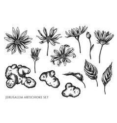 Set hand drawn black and white jerusalem vector