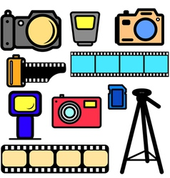 set of cameras vector image