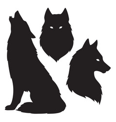 Set of wolf silhouettes isolated vector