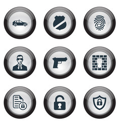 set simple security icons vector image