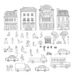 Set sketch urban street in the vector
