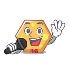 singing hexagon mascot cartoon style vector image