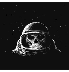 Skull astronaut in outer space vector