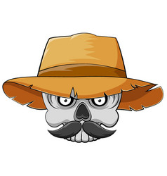 skull head with mustache and straw hat vector image