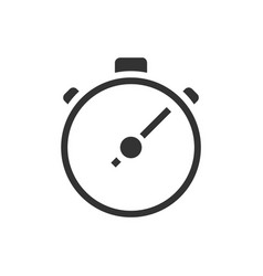 stop watch black icon on white background vector image