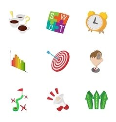 Success in business icons set cartoon style vector image