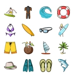 Surfing set icons in cartoon style big collection vector