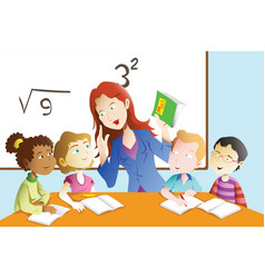 Teacher and student in the classroom vector