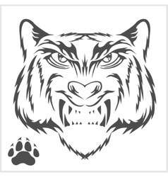 Tigers head and foot print tattoo design vector