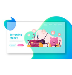 Tiny characters rejoice for money debt deliverance vector