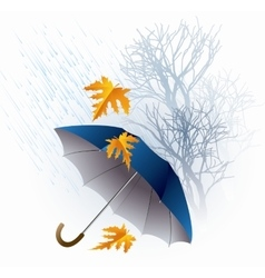 Umbrella and Rain Autumn Icon Minimalistic Style vector image