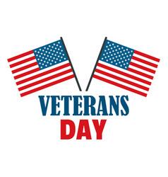 Usa flag veterans day logo flat style vector