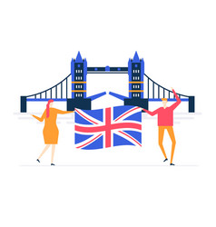 visit the uk - colorful flat design style vector image