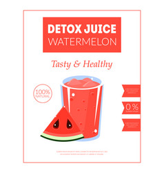 Watermelon detox juice banner template tasty and vector