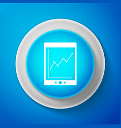 white tablet with statistic graph chart icon vector image