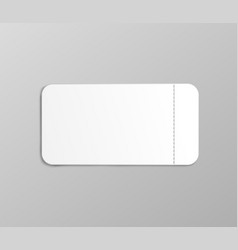 White ticket mockup with small stub perforation vector