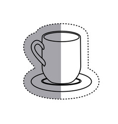 sticker silhouette dish porcelain with mug icon vector image