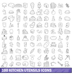 100 kitchen utensils icons set outline style vector image