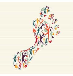 Embrace diversity concept foot print vector
