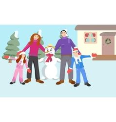 Family with a Snowman vector image