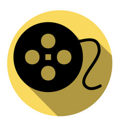 film circular sign flat black icon with vector image
