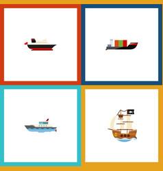 flat icon vessel set of cargo vessel sailboat vector image