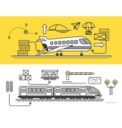 Freight forwarding by air and rail train vector