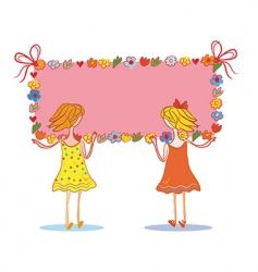 girls with banner vector image vector image