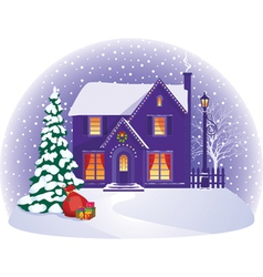 House in winter Christmas night vector image