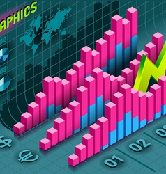 Isometric Infographic Histogram Set Elements in vector image