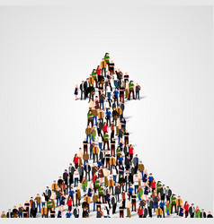 large group of people in the shape of a grossing vector image vector image