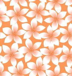 Orange tropical Plumeria and Hibiscus floral vector image vector image
